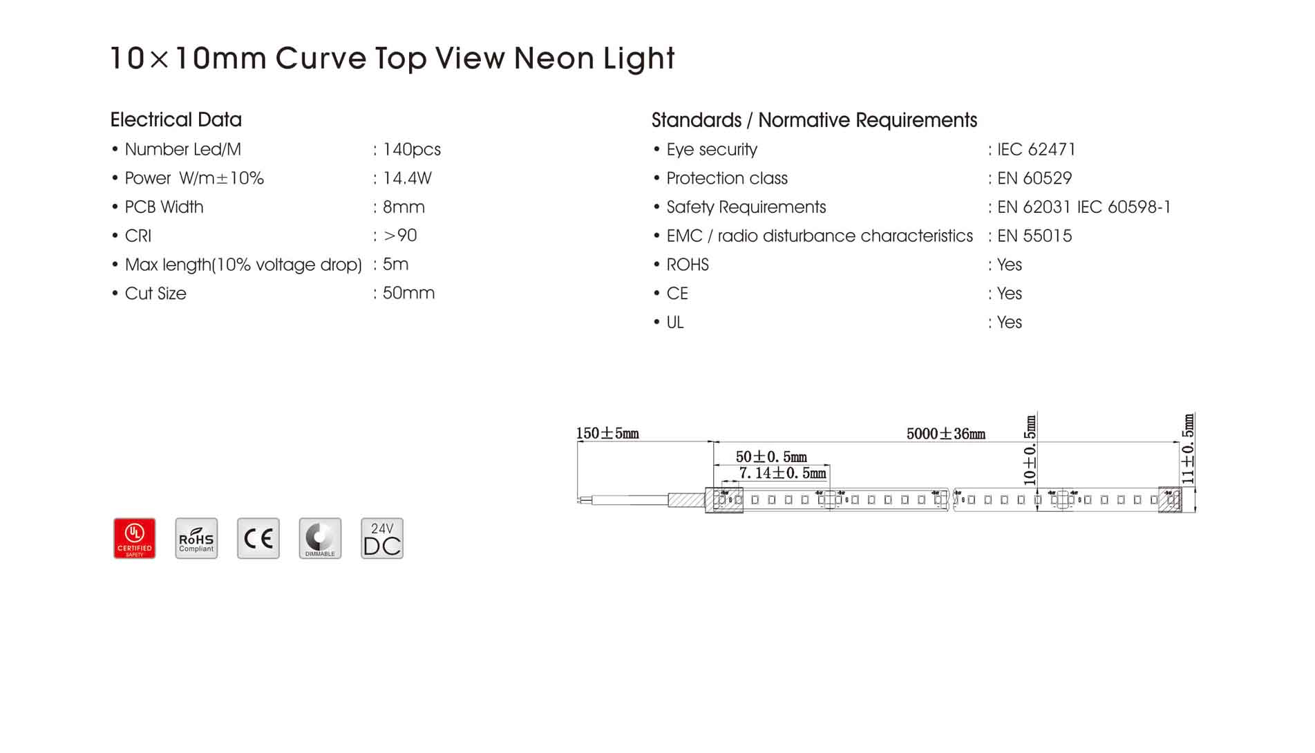 10x10mm curve top view neon light