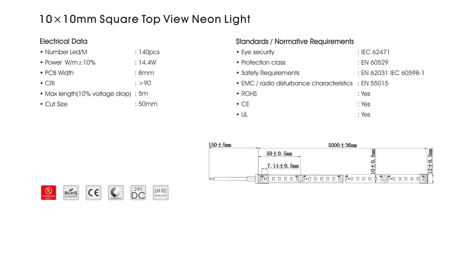 10x10mm square top view neon light
