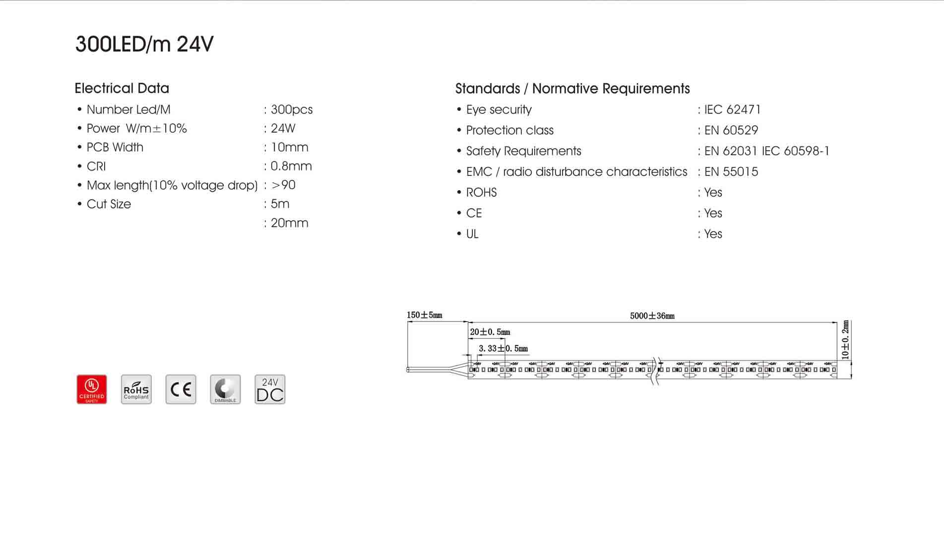 2216 300led/m 24v led strip
