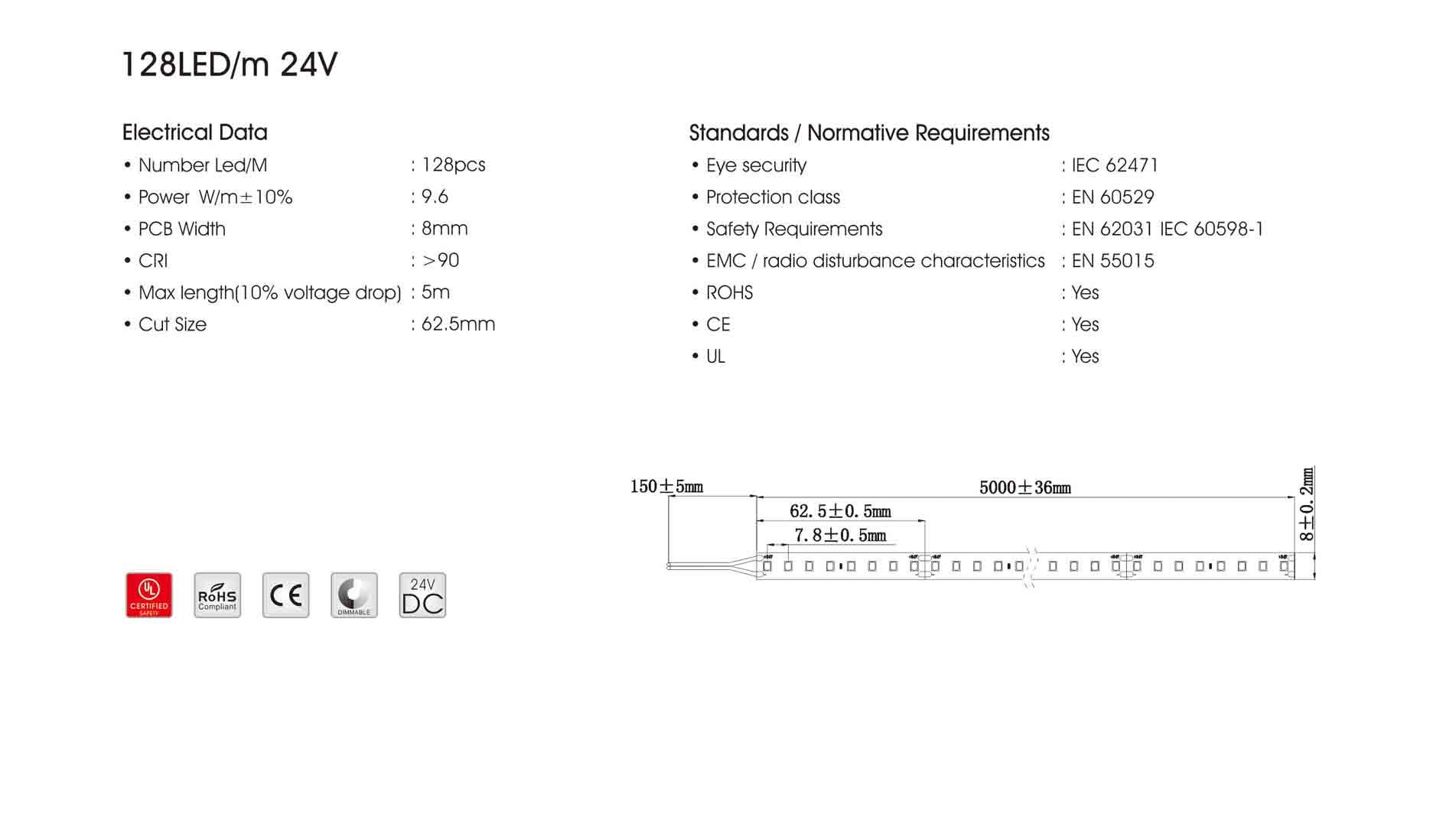 2835 128led/m 24v led strip