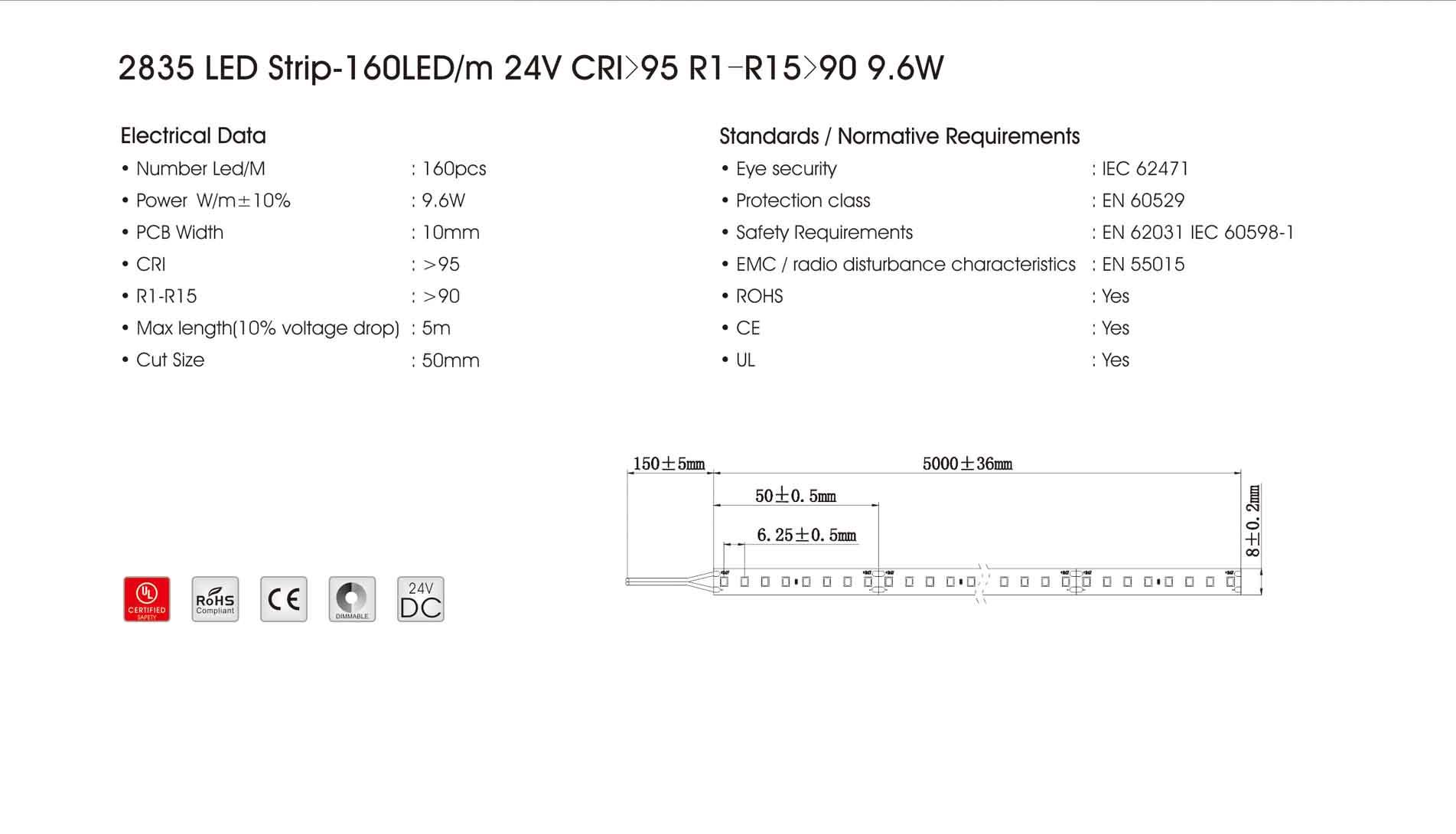 2835 160led/m 24v cri>95 r1-r15>90 9.6w led strip