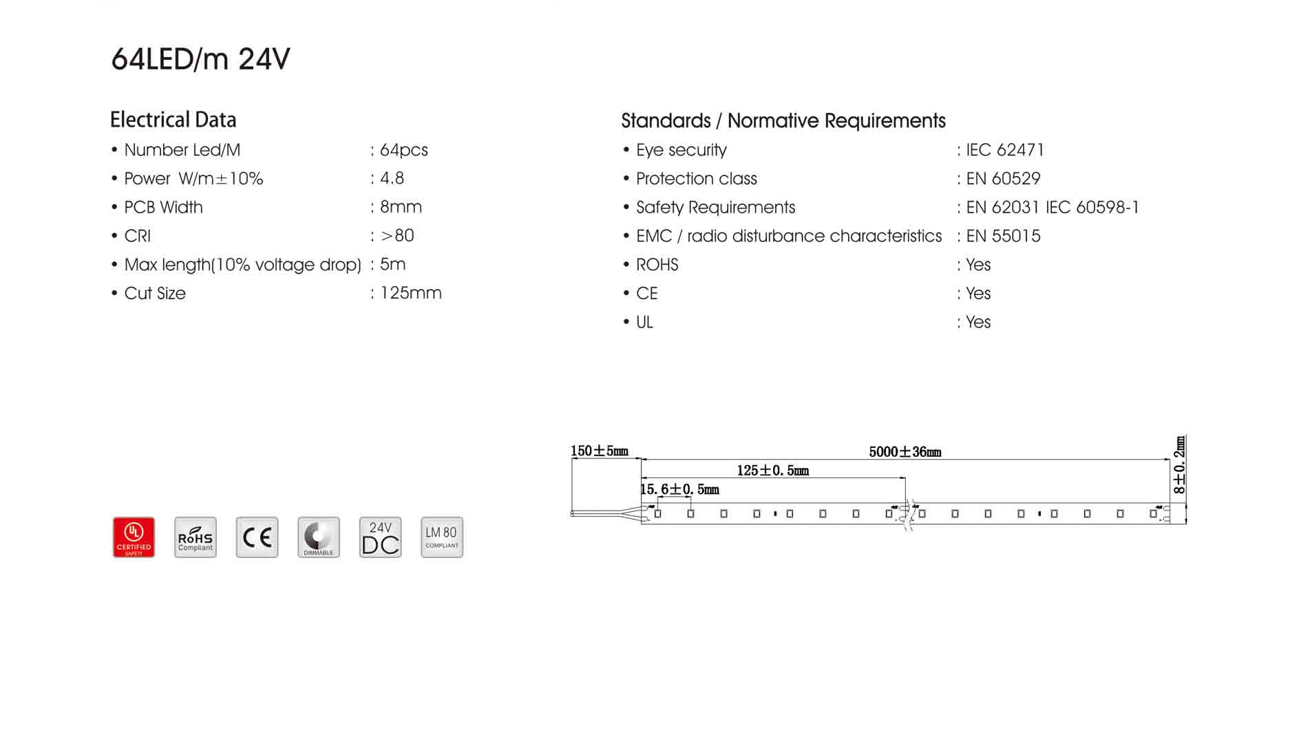 2835 64LED/m 24V CRI80 LED Strip