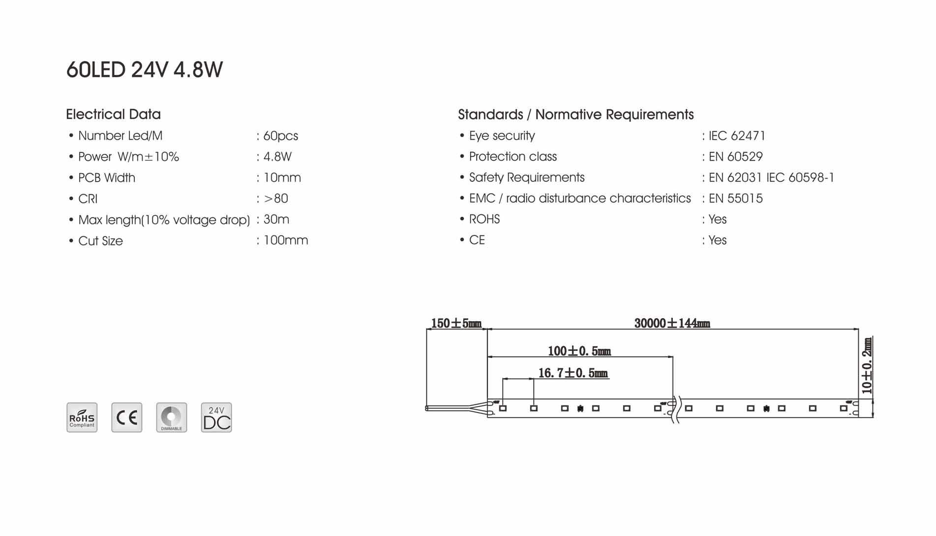 3040 60led/m 24v 4.8w led strip