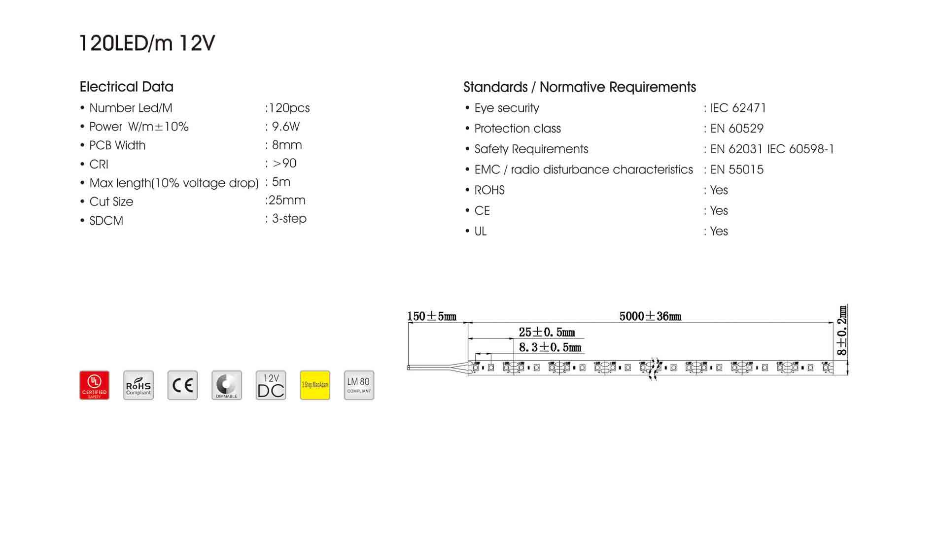 3528 120led/m 12v led strip