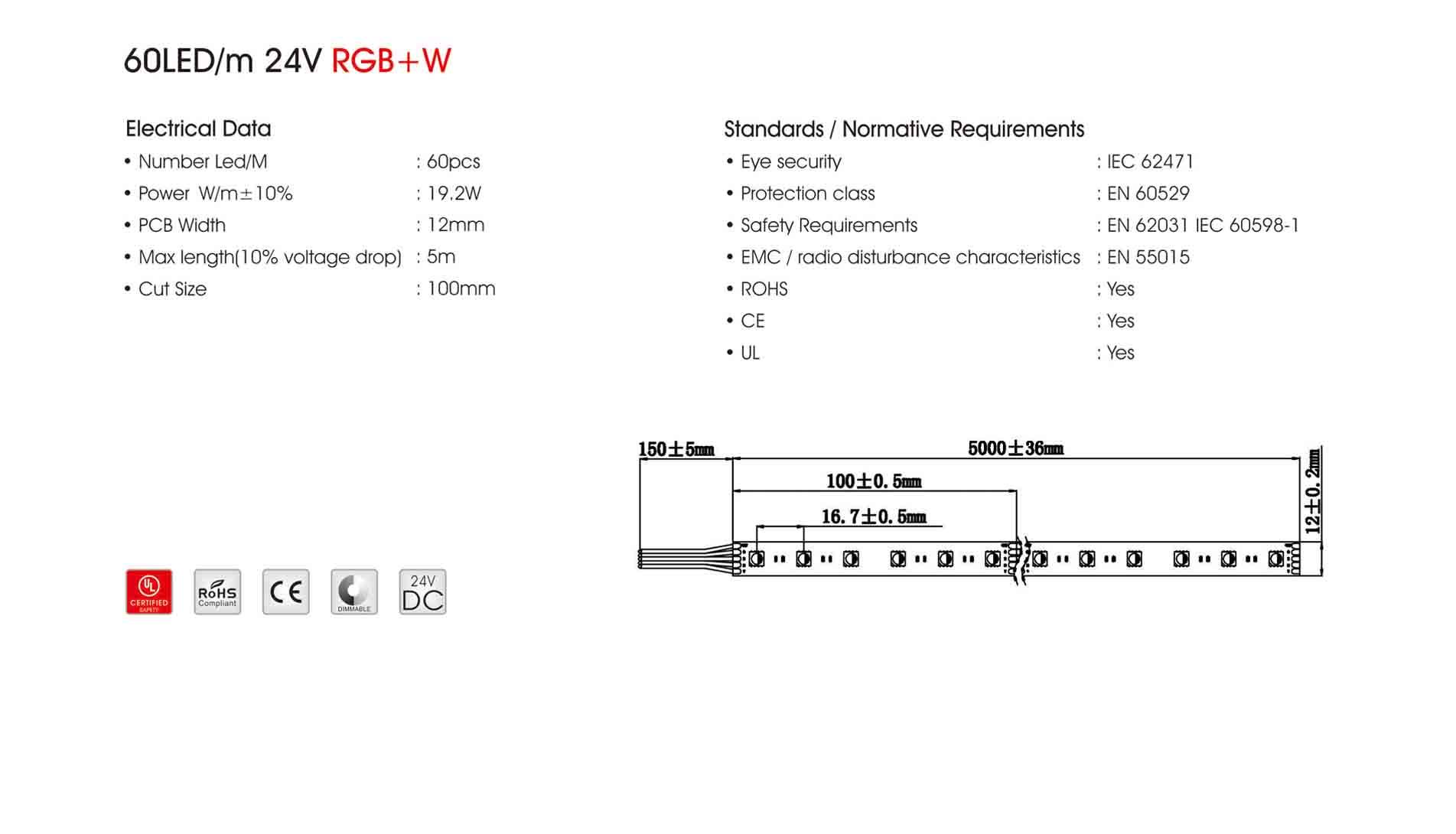 5050 60led/m 24v rgb+w led strip