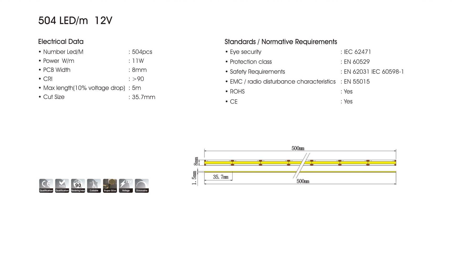 cob 504led/m 12v led strip